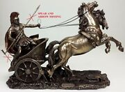As Is See Photos Achilles Roman Gladiator Chariot Sculpture Statue Bronze Color
