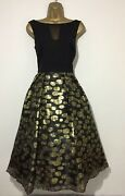 Bnwt Coast Black Gold Spot Fit And Flare Occasion Wedding Dress Size 12