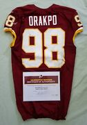 98 Brian Orakpo Of Redskins Nfl Game Used And Unwashed Jersey Vs. Chiefs Wcoa