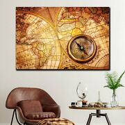 Compass On Vintage Map Antique And Vintage World Maps Canvas Art Print For Wall