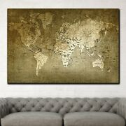 Textured Map Of The World Antique And Vintage World Maps Canvas Art Print For Wa
