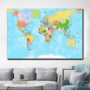 Political Map Of The World Antique And Vintage World Maps Canvas Art Print For W