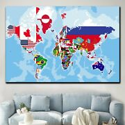 Political World Map With Flags Antique And Vintage World Maps Canvas Art Print F