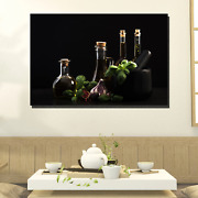 Infused Oil In Bottles Kitchen Dining And Cafe Decor Canvas Art Print