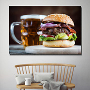 Burger And Beer Kitchen Dining And Cafe Decor Canvas Art Print
