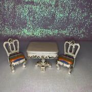 Faberge Table And Chair Trinket Box Hand Made By Keren Kopal And Austrian Crystals
