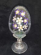 Vintage House Of Fabergé Crystal Egg Enamel Flowers With Pearls Etched Crystal
