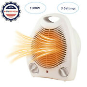1500w Portable Electric Space Heater Fan Forced Adjustable Thermostat 3 Settings
