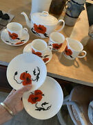10 Pc Wedgwood Susie Cooper, Cornpoppy,breakfast/lunch Set For 2,with Teapot