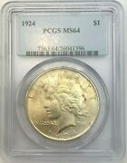 1924 Peace Silver Us Dollar Coin Ms64 1 Certified Pcgs Nc37