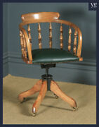 Antique English Edwardian Ash Green Leather Revolving Office Desk Arm Chair