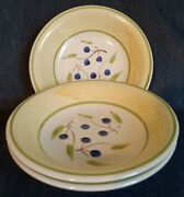 C. M. S. Hand Painted Italian Pottery Set Of 3 Soup Bowls Blueberries