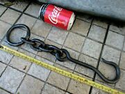 Antique Strong Iron Hook With Chain Strong Hanging Kitchen Rustic Farm Tool