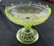Antique Fenton Vaseline Glass Daisy And Buttons Large Footed Compote 1885