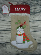 Pottery Barn Kids Burlap Penguin In Scarf Stocking Christmas Mary