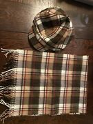 Womens Brown Plaid Winter Hat And Scarf Disney Parks Merchandise Mickey Mouse