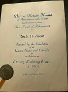 Rock Hudson Owned Truly One-of-a-kind Top 10 Money Making Star Of 1961 Award
