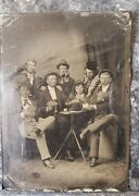 Rare 1800s Antique Men And A Woman Playing Poker Tin Type Photo Vintage 3x2