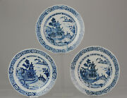 3 Antique 18th Century Chinese Porcelain Qianlong Blue And White Plates