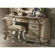 Wooden Vanity Desk With Scrolled Poster Legs Patina Gold And Bone White