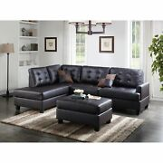Faux Leather 3 Pieces Sectional Set In Espresso Brown