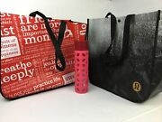 Lululemon Pink Glass Water Bottle And 2 Reusable Tote Shopping Bags Red Black