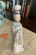 Chinese Sui / Tang Dynasty Pottery Court Lady Statue 唐代仕女陶佣
