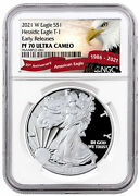 2021 W Silver Proof American Eagle Ngc Pf70 Uc Er Exclusive Eagle Label
