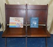 1933 Chicago Worldand039s Fair The Midway Folding Double Chair And Souvenir Books Rare