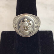Antique Sterling Silver Seal Of President Eagle Military Signet Ring Size 8.25
