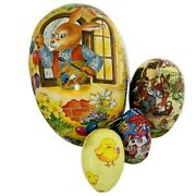 Vintage German Paper Mache Fillable Nesting Easter Eggs Lot 4 Bunnies And Chicks