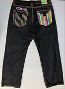 Menandrsquos Coogi Embroidered Colorful Graphic Baggy Dark Blue Denim Jeanand039s W40 X 34l