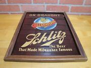 Schlitz On Draught Old Reverse On Glass Sign The Beer That Made Milwaukee Famous