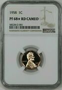 1958 Proof Lincoln Wheat Cent Penny 1c Ngc Certified Pf Pr 68 Rd Star Cam 001