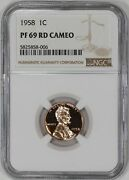 1958 Proof Lincoln Wheat Cent Penny 1c Ngc Certified Pf Pr 69 Rd Cameo 006