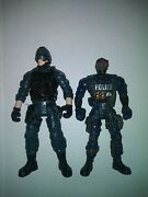Military Toy Action Figures 2 Police Type Guys Blue Uniforms Used