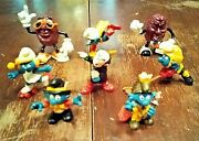 8 Vintage Lot 1970 And Up 6 Smurfs And 2 California Raisins Pvc Figures