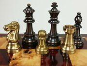Brass Metal Antique Bronze And Brushed Gold Staunton Frenc Chess Men Set No Boar