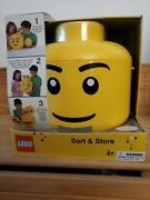 Nib Yellow Lego Head Storage Sort And Store Large Case Container Carrying Handle