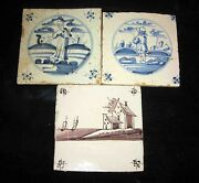 Man - Woman - House And Boats 17th Cent Antique Dutch Delft Tile Lot Of 3