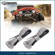 2x Winch Synthetic Rope 10000lbs Line Recovery Cable Off-road 1/4and039and039x50and039
