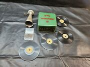 Bing Pigmyphone Tin Toy Phonograph Gramophone Grammophon W/ Records And Needles