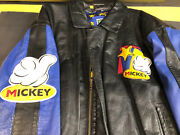 Vintage Mickey Mouse Leather Jacket From The 80's Size Xl Unisex