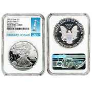 2021 W Silver Eagle S1 Heraldic T1 Ngc Pf70 U Cameo First Day Of Issue 1st R9