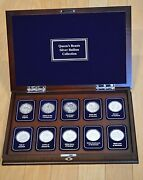 Complete Set Of Ten-the Queenand039s Beasts-20 Oz Silver Bullion In Display Case