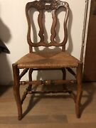 Set 6 Antique French Country Carved Wood Back Dining Chairs Rush Seat And Table.