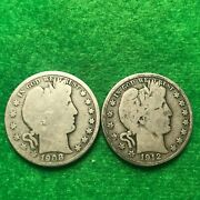Barber Half Dollars. 1908-o And 1912-d. Lot Of Two.