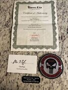 Chris Kyle American Sniper Signed 3 X 5 Card And Patch Coa 2012 Devil Of Ramadi