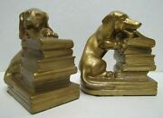 Jb Jenning Bros Puppy Dog Chewing Book Antique Bookends Decorative Art Statues