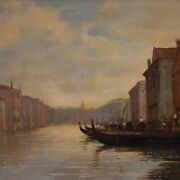 Painting Venice Framework Signed Dated Oil On Canvas Landscape Canal